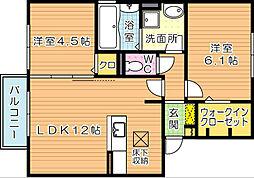クレール引野[1階]の間取り