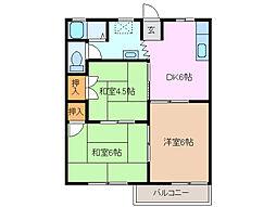 三重県四日市市大矢知町の賃貸アパートの間取り
