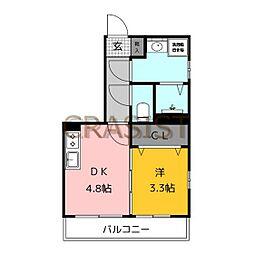 福岡市地下鉄七隈線 薬院大通駅 徒歩13分の賃貸マンション 2階1DKの間取り
