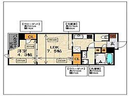 ラクレイス西新レジデンシャルタワー[1803号室]の間取り