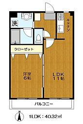 KKインテリジェントマンション 2階1LDKの間取り