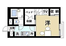 JR桜井線 三輪駅 徒歩15分の賃貸アパート 1階1Kの間取り
