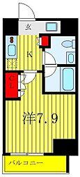 東京メトロ千代田線 根津駅 徒歩6分の賃貸マンション 2階1Kの間取り