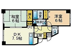福岡県福岡市中央区唐人町3丁目の賃貸マンションの間取り