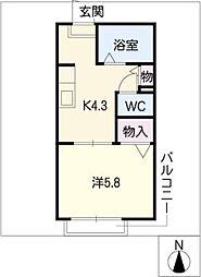 ディアス的場B棟[2階]の間取り