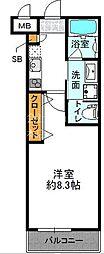阪急千里線 豊津駅 徒歩2分の賃貸マンション 3階1Kの間取り