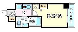 エステムコート新大阪XIリンクス 7階1Kの間取り