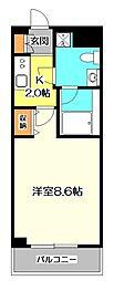 JR中央本線 国分寺駅 徒歩7分の賃貸マンション 4階1Kの間取り