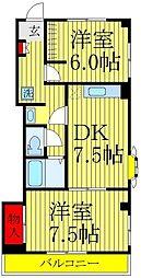 千葉県松戸市小金原8の賃貸マンションの間取り