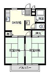 エントピアヤナイB[2階]の間取り
