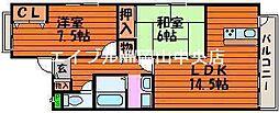 岡山県岡山市北区西崎1丁目の賃貸マンションの間取り