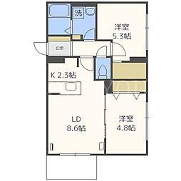 北海道札幌市西区八軒七条東4丁目の賃貸マンションの間取り