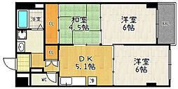 京都府京都市伏見区石田大受町の賃貸マンションの間取り