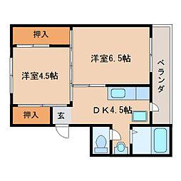 JR桜井線 巻向駅 徒歩6分の賃貸マンション 5階2DKの間取り
