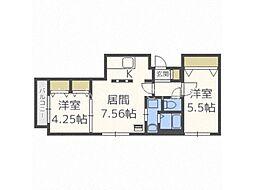 北海道札幌市豊平区平岸四条5丁目の賃貸アパートの間取り