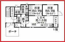 東京都台東区千束3丁目の賃貸アパートの間取り