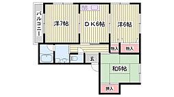 JR東海道・山陽本線 西明石駅 4.8kmの賃貸アパート 1階3DKの間取り