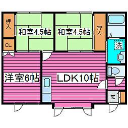 北海道札幌市北区東茨戸一条1丁目の賃貸アパートの間取り