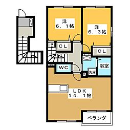 ピクシー・ラビットA[2階]の間取り