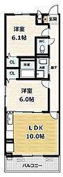 ソレイユ 2階2LDKの間取り