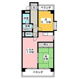 ピュアネス鶴里[2階]の間取り