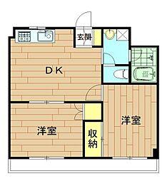 神奈川県川崎市幸区小倉1丁目の賃貸マンションの間取り
