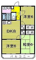 ドミール北島 2階3DKの間取り