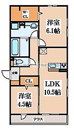D-room六万寺町[1階]の間取り