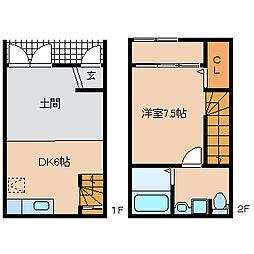 R-BOX津福III 1LDKの間取り