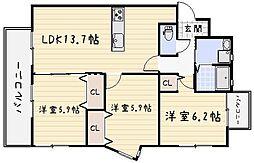 レジェンド砂津[12階]の間取り