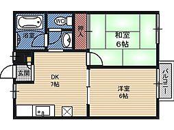 フジ京橋ハイツ[1階]の間取り