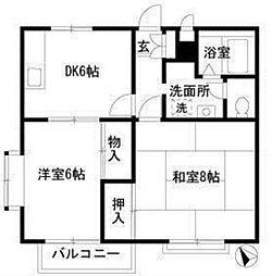 埼玉県羽生市大字羽生の賃貸アパートの間取り