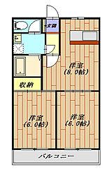 プラチナパレス宇都宮 207号室[2階]の間取り