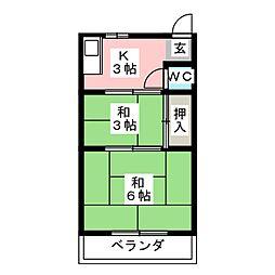 八尾荘 南棟[1階]の間取り