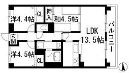 兵庫県川西市鼓が滝1丁目の賃貸マンションの間取り