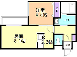 ブレッシング札幌元町 2階1LDKの間取り