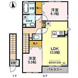 栃木県栃木市大平町西水代の賃貸アパートの間取り