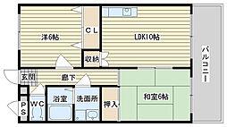大阪府高槻市唐崎西2丁目の賃貸マンションの間取り