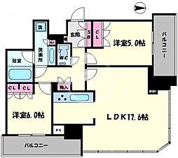 プレミストタワー大阪新町ローレルコート 24階2LDKの間取り