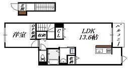 大阪府大阪市生野区鶴橋3丁目の賃貸アパートの間取り