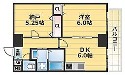 HERITAGE高井田(ヘリテージ高井田)[406号室号室]の間取り