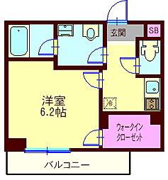 東急目黒線 西小山駅 徒歩9分の賃貸マンション 2階1Kの間取り