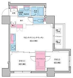 JR山手線 日暮里駅 徒歩6分の賃貸マンション 4階2LDKの間取り