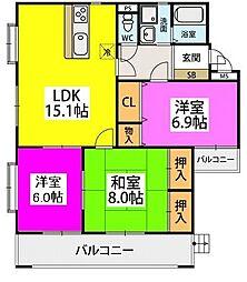 JR鹿児島本線 九産大前駅 徒歩5分の賃貸マンション 3階3LDKの間取り