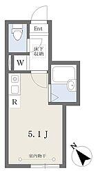 小田急小田原線 読売ランド前駅 徒歩13分の賃貸アパート 1階ワンルームの間取り