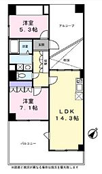 JR中央線 国立駅 徒歩15分の賃貸マンション 3階2LDKの間取り