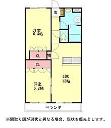 愛知県一宮市東五城字出先の賃貸アパートの間取り