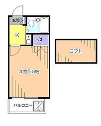 東京都小平市花小金井7丁目の賃貸アパートの間取り