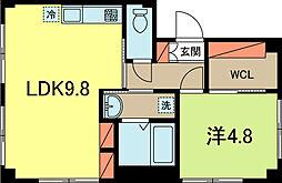 カースル高円寺[102号室]の間取り