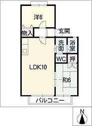 プラザ・ヤマダA・B[1階]の間取り